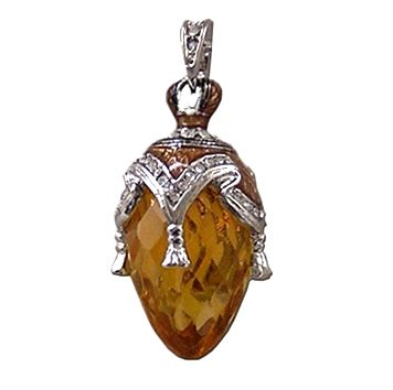 Pendentif Oeuf style Faberge avec cristal
