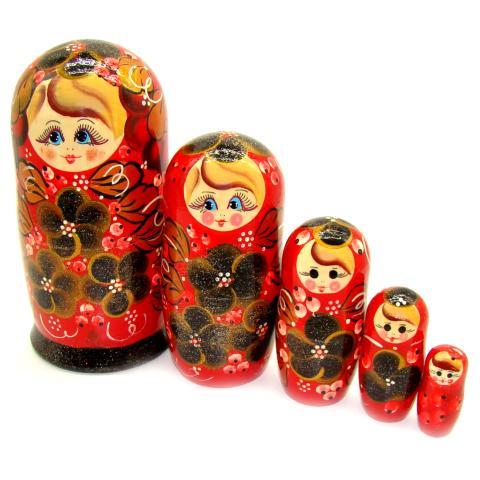 acheter matriochka rouge deco roses matriochka poupee russe. Black Bedroom Furniture Sets. Home Design Ideas