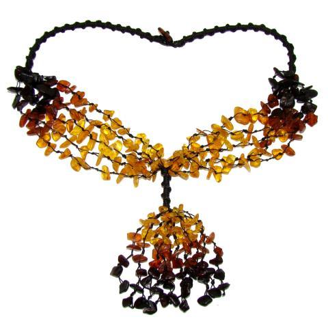 Véritable multicolore Baltic Amber Collier long de 65 cm