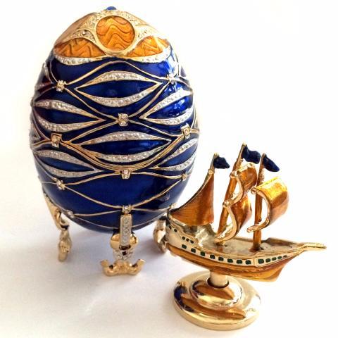 5920498219 Oeuf Impérial Fabergé - Bateau Santa Maria - copie Oeuf Fabergé