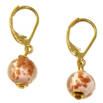 Boucles d'oreille Murano - Rose et Or