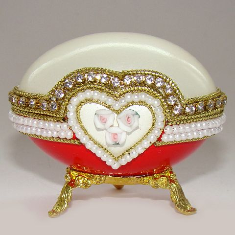 Boite à bijoux oeuf en coquille, inspiration oeufs Faberge