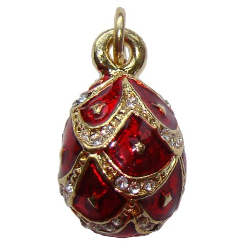 Lys - Oeuf Pendentif rouge, Pendentif Fabergé style