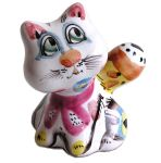 Chat - Figurine en majolique