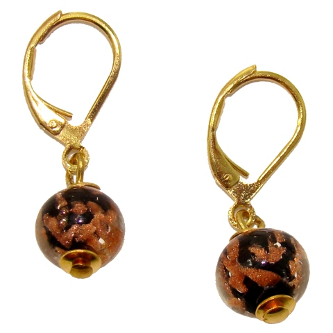 offre très loué boutique de sortie Boucles d'oreille verre Murano - Noir et Or