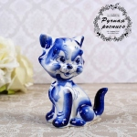 Figurine Chat assis en porcelaine