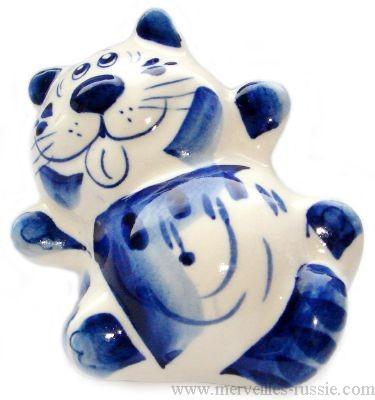 Figurine chat de collection en porcelaine